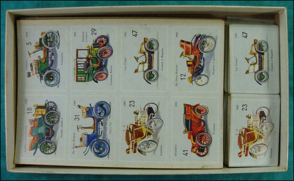 1965/70 - Loto des teuf-teuf ; Volumétrix ; Mildé ; De Dion Bouton ; Gladiator ; Mieusset ; Georges Richard ; Renault Frères ; Panhard Levassor ; Berliet ; Philos ; Lorraine Dietrich ; Bedelia ; Rolls Royce ; Peugeot ; Laspougeas ; Audibert et Lavirotte ; Vallée ; Delahaye ; Rochet Schneider ; Rochet frères ; Clément ; F.N. ; Luc Court ; Motobloc ; Chenard et Walker ; Sizaire et Naudin ; Léon Bollée ; Clément Bayard ; Mercedes ; Secretand ; Scotte ; Lacroix de Laville ; Gobron Brillié ; vintage car-themed board game ; ancien jeu de société automobile ; Antikes Brettspiel Thema Automobil Autospiel ;