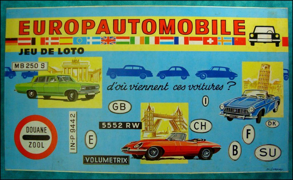 1965/70 - Europautomobile ; Volumétrix ; Citroën DS 21 ; Citroën 2 Cv ; Jaguar Type E ; Lancia ; Opel ; Rolls Royce ; Bentley ; vintage car-themed board game ; ancien jeu de société automobile ; Antikes Brettspiel Thema Automobil Autospiel ;