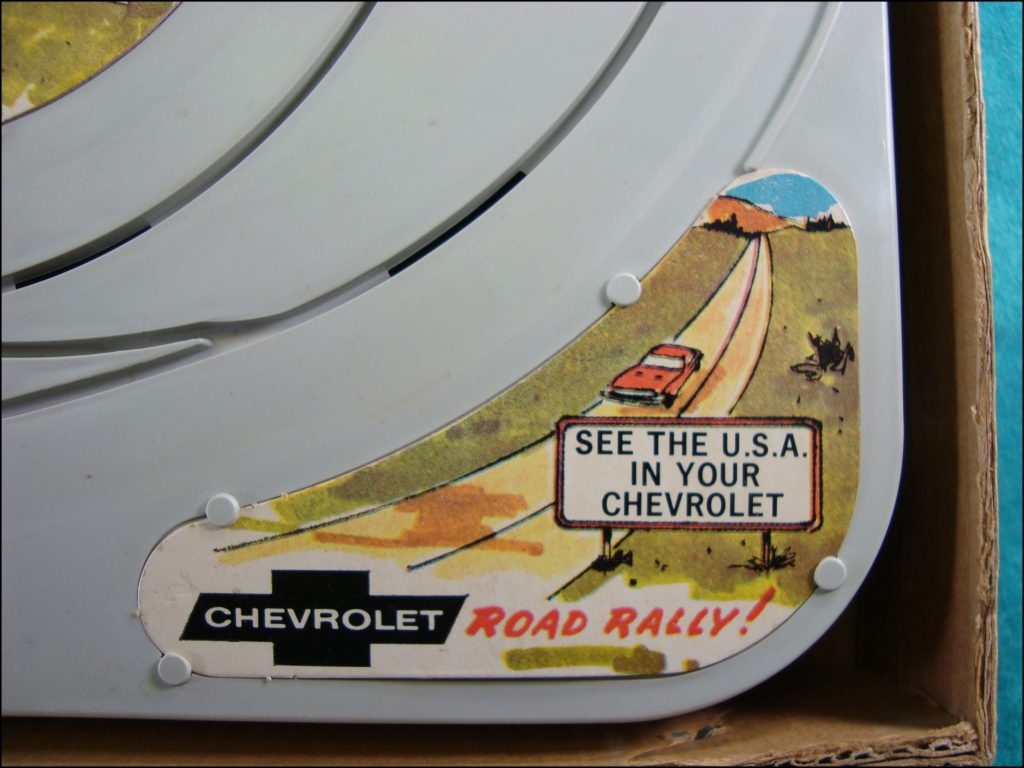 Brettspiel ; Board game ; Jeu de société ; Republic Tool ; slot cars ; 1967 ; Chevrolet Road Rally ; Chevrolet Corvette 1967 ; Chevrolet Camaro SS 1967 ;