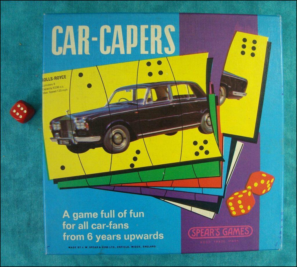 Brettspiel ; Board game ; Jeu de société ; 1967 ; Car Capers ; Spear's Games ; Morris Mini Minor ; Hillman Hunter ; Ford Cortina ; Triumph TR4 ; Rolls Royce ; Vauxhall VX4 ; Volkswagen V.W. 1300 ; Hispano Suiza ; Rover Mark 3 ; Jaguar Type E ; Ford Corsair