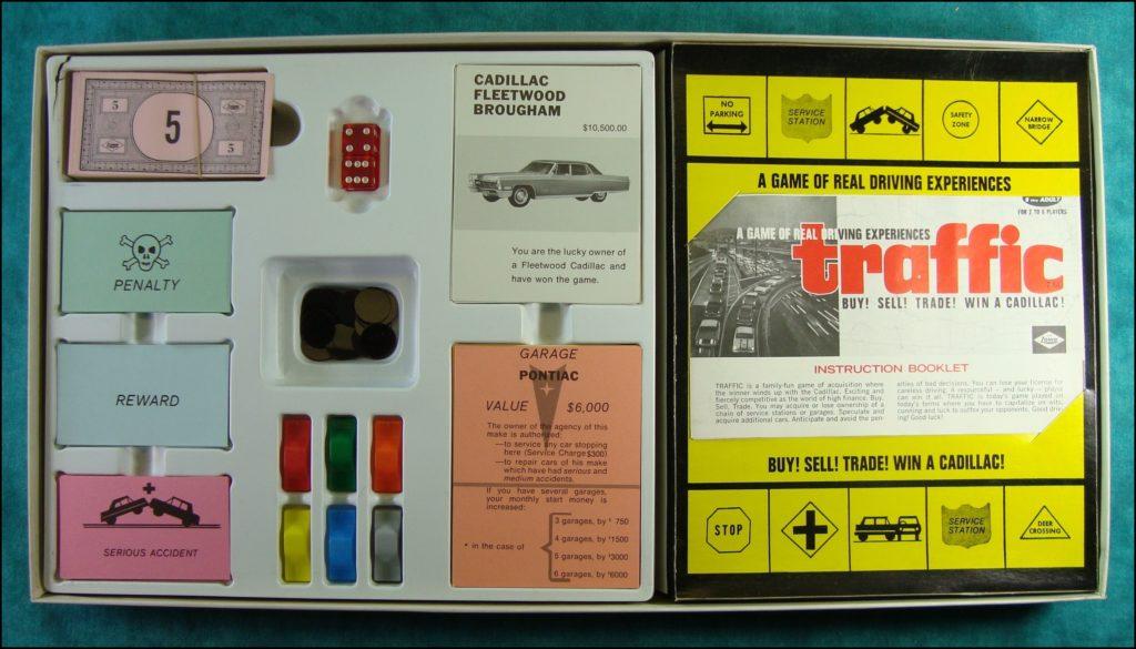 Brettspiel ; Board game ; Jeu de société ; 1968 ; Traffic ; Lowe Company ; Opel ; Pontiac ; Buick ; Cadillac ; Oldsmobile ; Chevrolet.