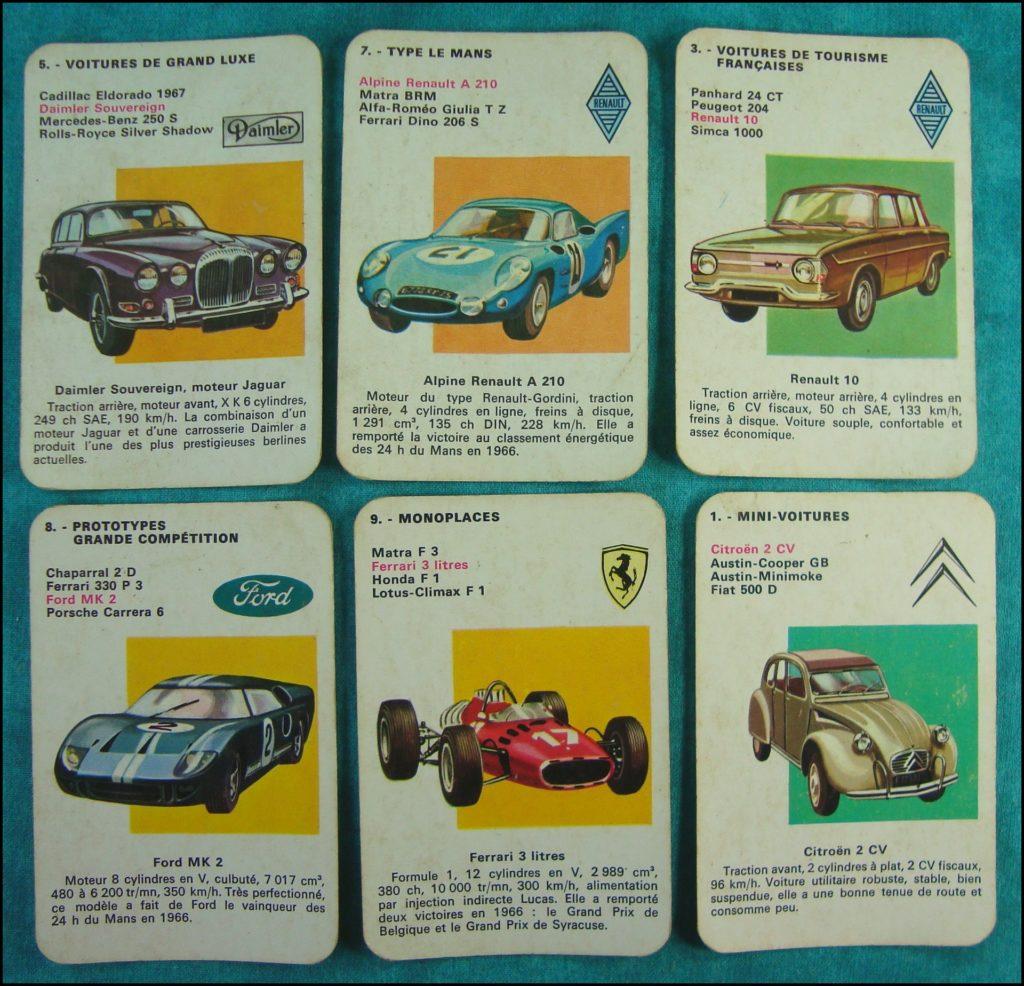 1968 - Les Autos, 7 familles ; Nathan ; Daimler Sovereign ; Alpine A 210 ; Renault 10 ; Ford MK 2 GT 40 ; Ferrari ; Citroën 2 CV ; vintage car-themed board game ; ancien jeu de société automobile ; Antikes Brettspiel Thema Automobil Autospiel ;
