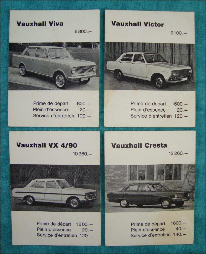Brettspiel ; Board game ; Jeu de société ; 1968/69 ; Trafic ; Carlit ; BP ; Vauxhall ; Viva ; Victor ; VX ; Cresta ; Opel Admiral ; Diplomat ; Kadett ; Kapitan ; Record ; Pontiac Catalina ; Buick Special; Cadillac ; Oldsmobile ; Chevrolet Impala ; Corvair ; Corvette ;