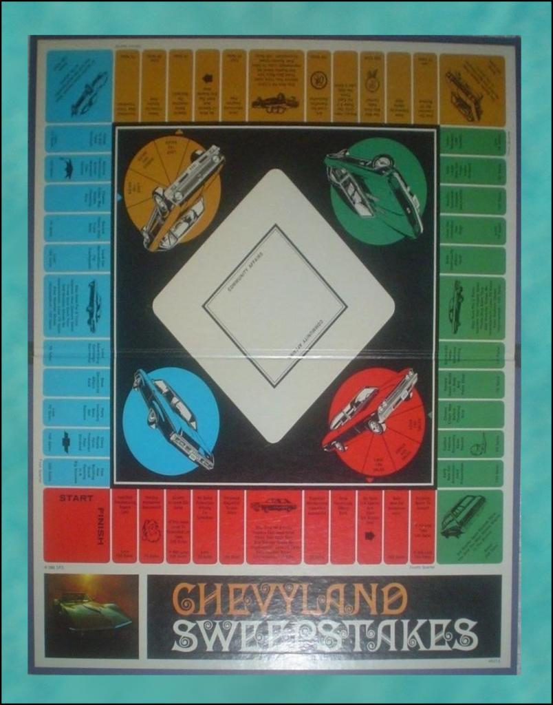 Brettspiel ; Board game ; Jeu de société ; 1968 ; Chevyland Sweepstakes ; Milton Bradley ; MB ; Chevrolet Corvette 1969 ; Chevrolet Camaro SS 396 1969 ; Chevrolet Impala convertible 1969 ; Chevrolet Biscayne 1969 ; Chevrolet Nova SS 1969 ;