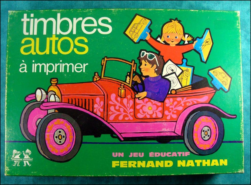 1970 - Timbres Autos ; Nathan ; Citroën DS 2 CV Ami 6 ; Mini Cooper ; Mercedes ; Fiat 500 ; Renault 16 4L ; Volkswagen Coccinelle ; Peugeot 204 ; vintage car-themed board game ; ancien jeu de société automobile ; Antikes Brettspiel Thema Automobil Autospiel ;
