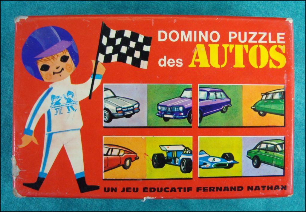 1970/75 - Domino puzzle des Autos ; Nathan ; vintage car-themed board game ; ancien jeu de société automobile ; Antikes Brettspiel Thema Automobil Autospiel ;