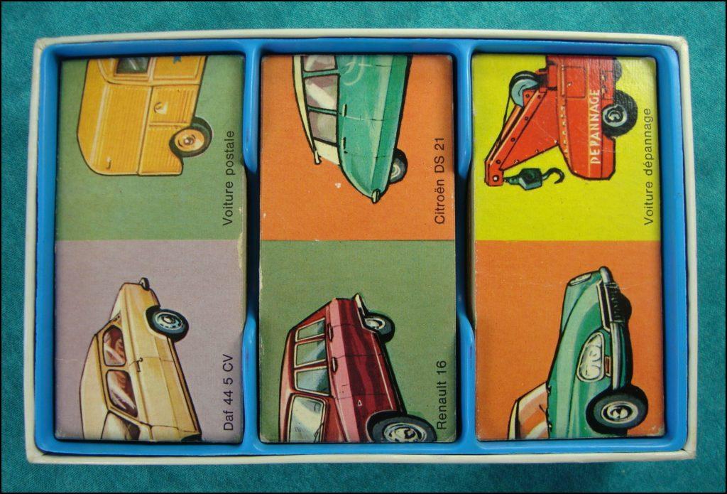 1970/75 - Domino puzzle des Autos ; Nathan ; Daf 44 ; 2 Cv Postes PTT ; Renault 16 ; Citroën DS 21 ; vintage car-themed board game ; ancien jeu de société automobile ; Antikes Brettspiel Thema Automobil Autospiel ;