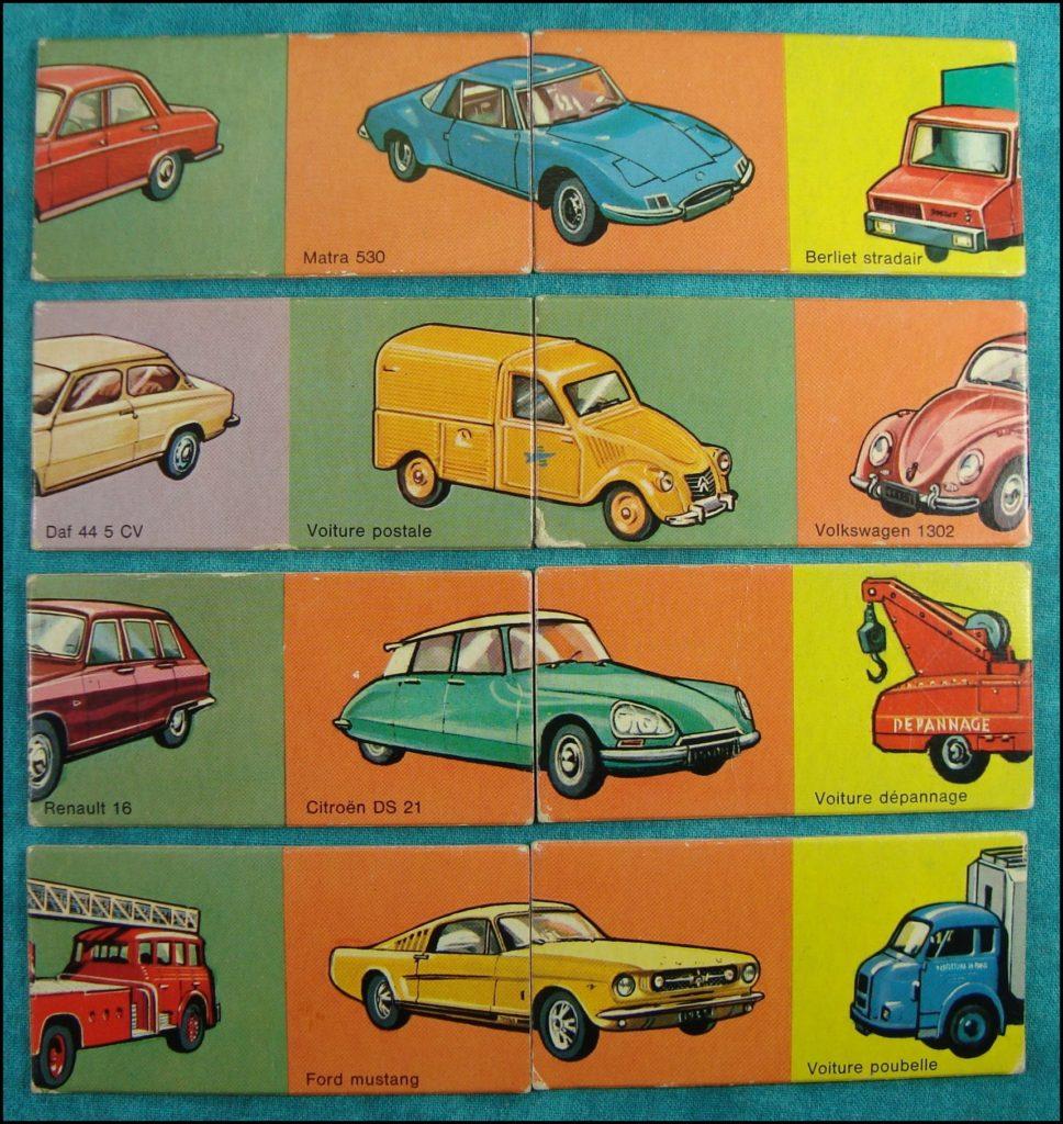 1970/75 - Domino puzzle des Autos ; Nathan ; Daf 44 ; 2 Cv Postes PTT ; Renault 16 ; Citroën DS 21 ; Matra 530 ; Berliet Stradair ; Volkswagen 1302 ; Ford Mustang ; vintage car-themed board game ; ancien jeu de société automobile ; Antikes Brettspiel Thema Automobil Autospiel ;