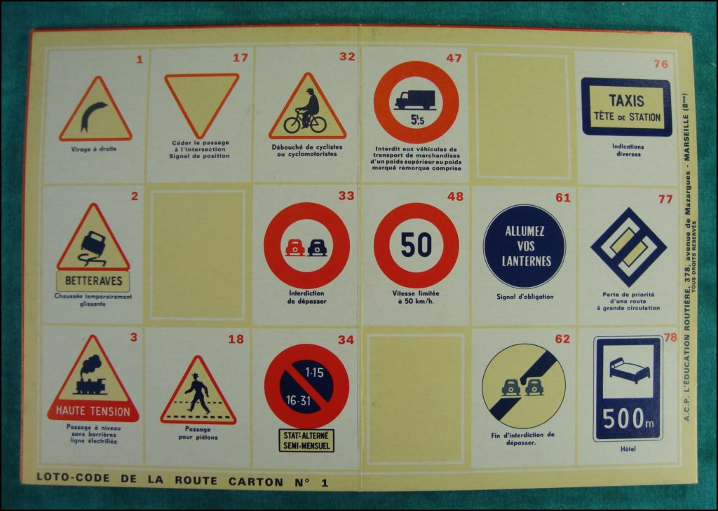 1971 ; Loto Code de la Route ; A.C.P. ; L'Education Routière ; Ratier Cemec 750 L7 ; vintage car-themed board game ; ancien jeu de société automobile ; Antikes Brettspiel Thema Automobil ;