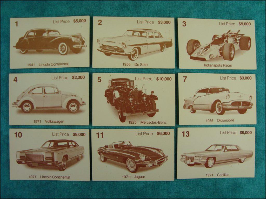 Brettspiel ; Board game ; Jeu de société ; 1972 ; Dealer's choice (Canada) ; Parker ; Lincoln Continental 1941 1971 ; De Soto 1956 ; Volkswagen 1971 ; Mercedes Benz 1925 ; Oldsmobile 1956 ; Jaguar Type E 1971 ; Cadillac 1971