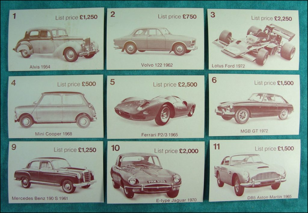 Brettspiel ; Board game ; Jeu de société ; 1972 ; Dealer's choice ; Parker G.B. ; Alvis 1954 ; Volvo 122 1962 ; Lotus Ford 1972 ; Mini Cooper 1968 ; Ferrari P2/3 1965 ; MGB GT 1972 ; Mercedes 190 S 1961 ; Jaguar Type E 1970 ; Aston Martin DB5 1965