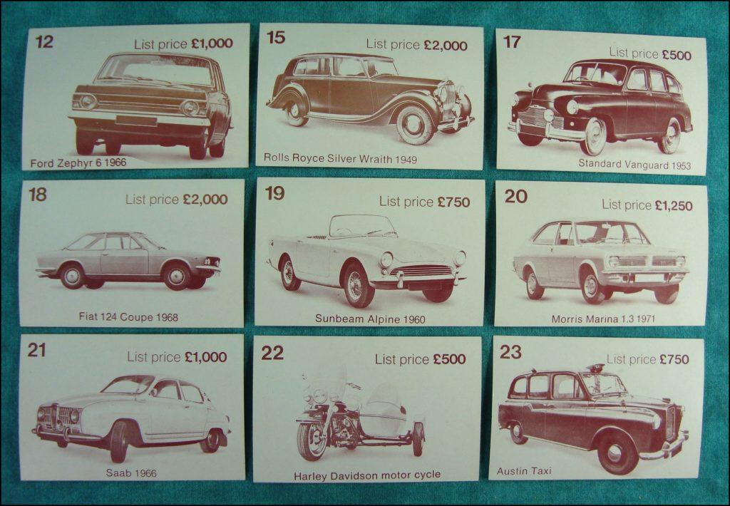Brettspiel ; Board game ; Jeu de société ; 1972 ; Dealer's choice ; Parker G.B. ; Ford Zephyr 1966 ; Rolls Royce Silver Wraight 1949 ; Standard Vanguard 1953 ; Fiat 124 Coupe 1968 ; Sunbeam Alpine 1960 ; Morris Marina 1971 ; Saab ; 1966 ; Harley Davidson ; Austin Taxi