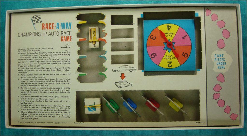 Brettspiel ; Board game ; Jeu de société ; 1973 ; Race-A-Way ; Milton Bradley ; MB ; Nascar