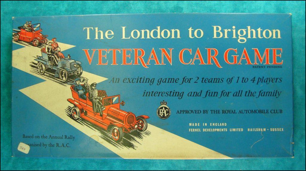 Brettspiel ; Board game ; Jeu de société ; 1973 ; London to Brighton ; Fernel ; Matchbox Model of Yesteryear ; 1/43 ; Rolls Royce Silver Ghost 1907 ; Cadillac 1913 ; ; Spyker 1904 ; R.A.C. ; Royal Automobile Club