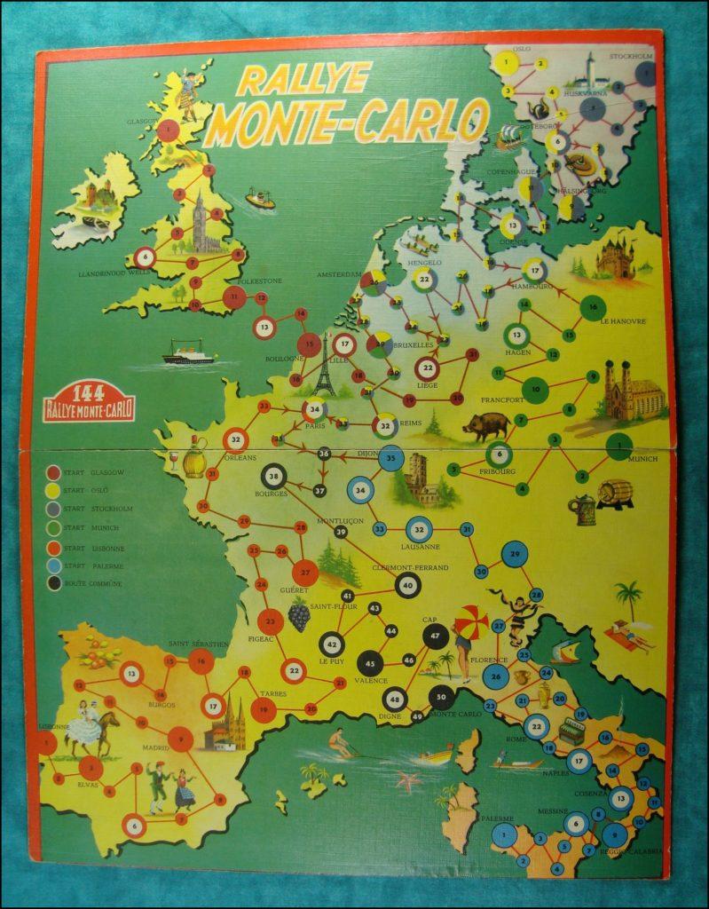Brettspiel ; Board game ; Jeu de société ; 1952 ; Rallye Monte Carlo ; Mulder & Zoon ;