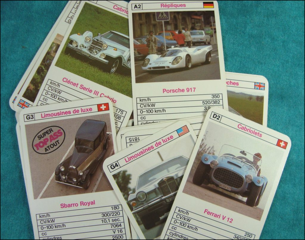 Brettspiel ; Board game ; Jeu de société ;  1982 ; Top Ass  ; Altenburg ; Porsche 917 ; Ferrari V12 ; Sbarro Royal ; Clénet Série III