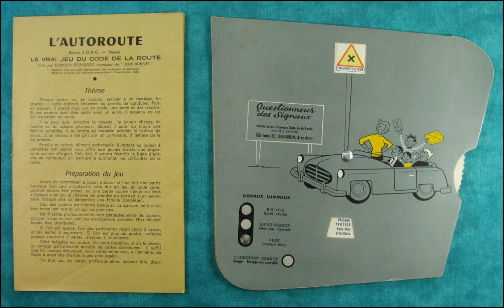 1962 - L'autoroute ; Dujardin ; vintage car-themed board game ; ancien jeu de société automobile ; Antikes Brettspiel Thema Automobil Autospiel ;