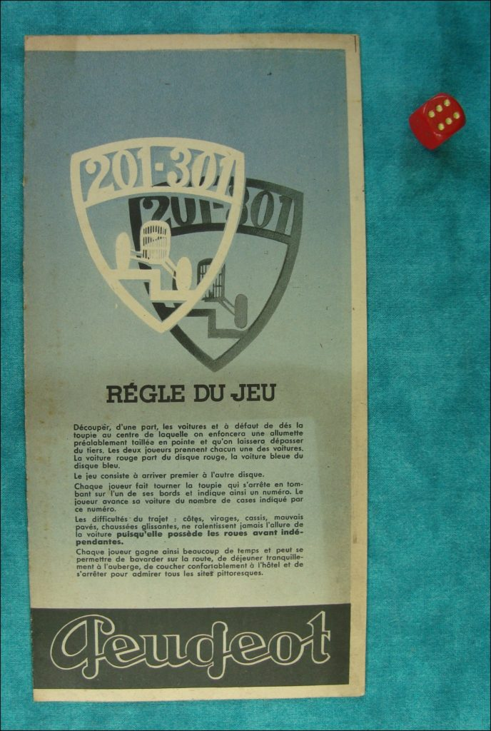 Brettspiel ; Board game ; Jeu de société ; 1932 ; Peugeot Promo ; Louis Gougeon ; Peugeot 201 ; Peugeot 301 ;