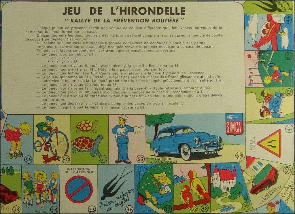 Brettspiel ; Board game ; Jeu de société ; 1951 ; Jeu de l'Hirondelle ; éd. Lacroix Lebeau ; PROMO Simca ; Simca Aronde berline Luxe ; Simca Châtelaine ; Simca Messagère ; Simca Intendante ; Aronde Commerciale ; Simca Aronde Grand Large
