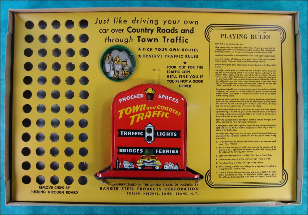 Brettspiel ; Board game ; Jeu de société ; 1945 1950 ; Town and Country Traffic ; Ranger Steel Product ;