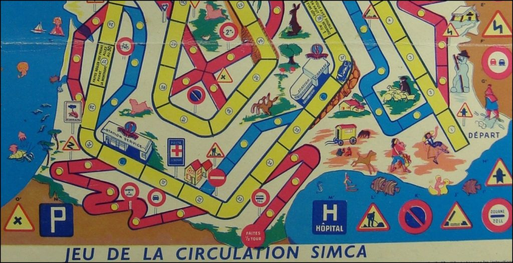 Brettspiel ; Board game ; Jeu de société ; 1957 ;  Jeu de la circulation Simca ; éd. Lacroix Lebeau ; PROMO Simca ;  Simca Aronde berline Luxe ;  Simca Vedette ; Simca Aronde Grand Large