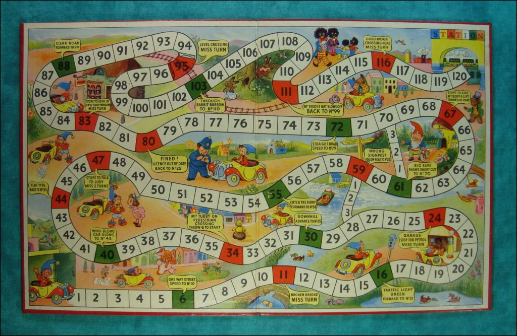 Brettspiel ; Board game ; Jeu de société ;  1953 ; Little Noddy Car Game ; Enid Blyton ; BeStime ;