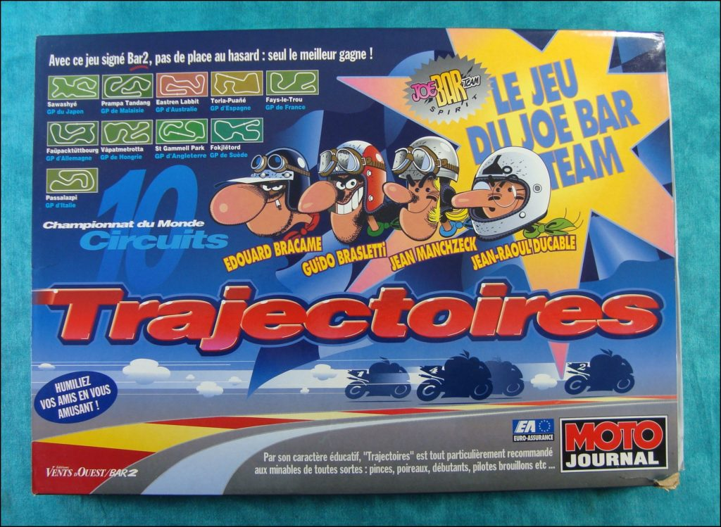 Brettspiel ; Board game ; Jeu de société ; 1995 ; Trajectoires ; éd. Vent d'Ouest ; Joe Bar Team ; Christian Debarre ; Bar2 ; Moto Journal ;