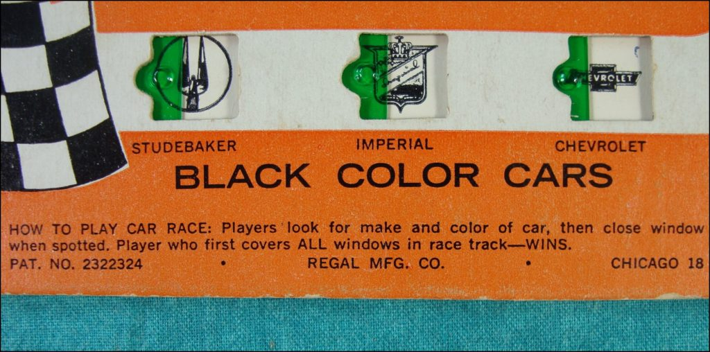 Brettspiel ; Board game ; Jeu de société ; 1955/60 ; Car Race ; bingo ; Regal ; Plymouth ; Pontiac ; Mercury ; Cadillac ; Chevrolet ; Dodge ; Olsmobile ; Studebaker ; Imperial ;