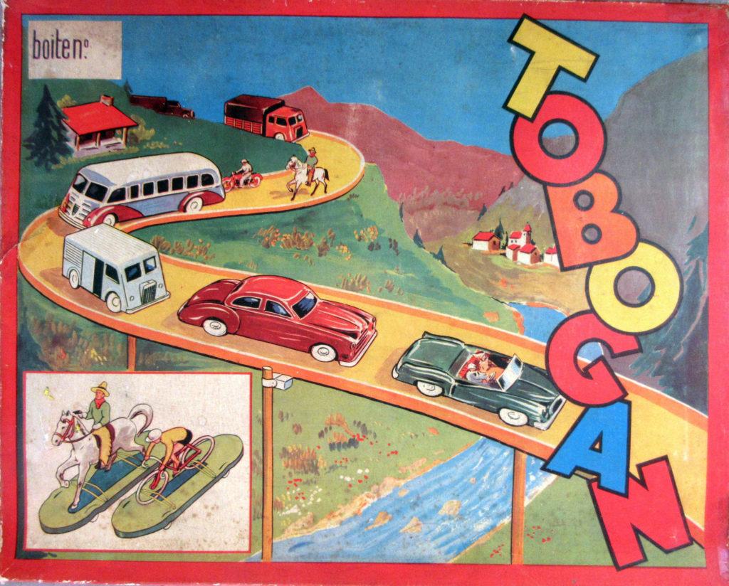 Boîte Tobogan ; La route miniature ; jeu vintage ; vintage game ; die cast ; Auto Union tin toy ; Auto Union Alvus 1937 ;