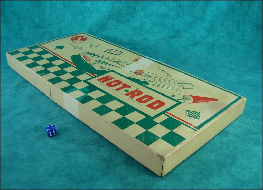 1954 ; Hot Rod game ; prototype ; Don Cranmer Prod ; vintage car-themed board game ; ancien jeu de société automobile ; Antikes Brettspiel Thema Automobil ;