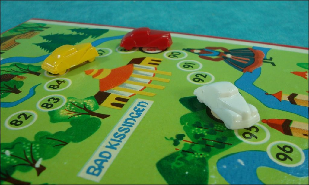 vintage car-themed board game ; ancien jeu de société automobile ; Antikes Brettspiel Thema Automobil ; 1950-55 - Reise durch Nord und Mitteldeutschland