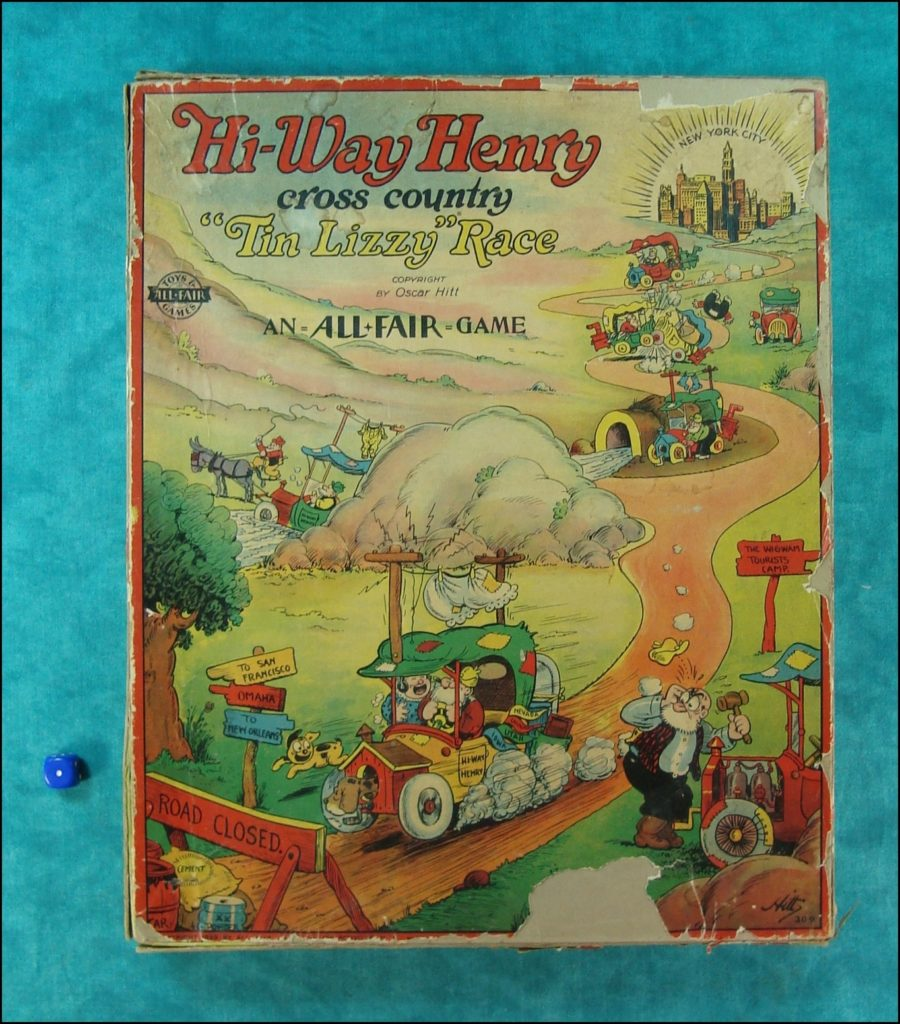 1929 ; Hi-Way Henry ; Oscar Hitt ; Tin Lizzy race ; Ford model T ; All Fair game ; Fairchild Corporation ; Pim Pam Poum ; Katzenjammer Kids ; Wagen Brettspiel ; vintage cars Board game ; Jeu de société automobile ;