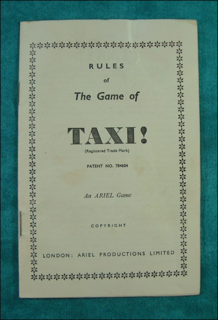 Taxi ! ; Ariel Games ; Austin 12/4 LL 1935 ; London Map ; Wagen Brettspiel ; vintage cars Board game ; Jeu de société automobile ;