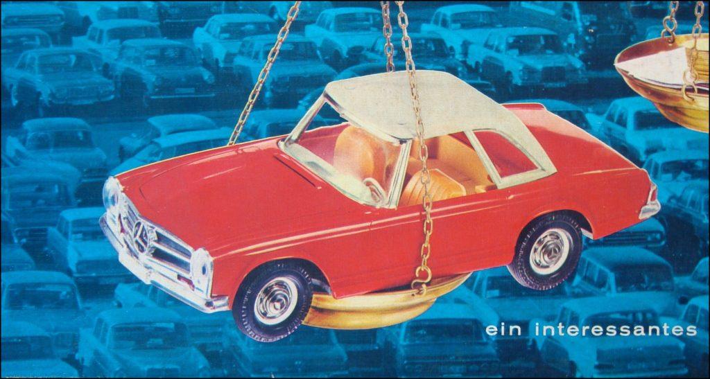 Auto Markt ; KLEE Spiele 1656 ; 1963 ; Mercedes-Benz 230 SL ; 250 SL ; 280 SL ; Opel Kadett Kapitan Olympia ; Citroen DS ; Simca 8 1200 ; Combi VW Coccinelle Käfer Ladybug ; Aral ;