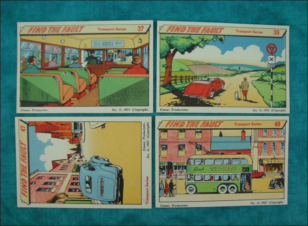 1950-55 ; Find The Fault ; Dennis Party Game ; Austin A70 Hereford ; Wolseley ; vintage car-themed board game ; ancien jeu de société automobile ; Antikes Brettspiel Thema Automobil ;