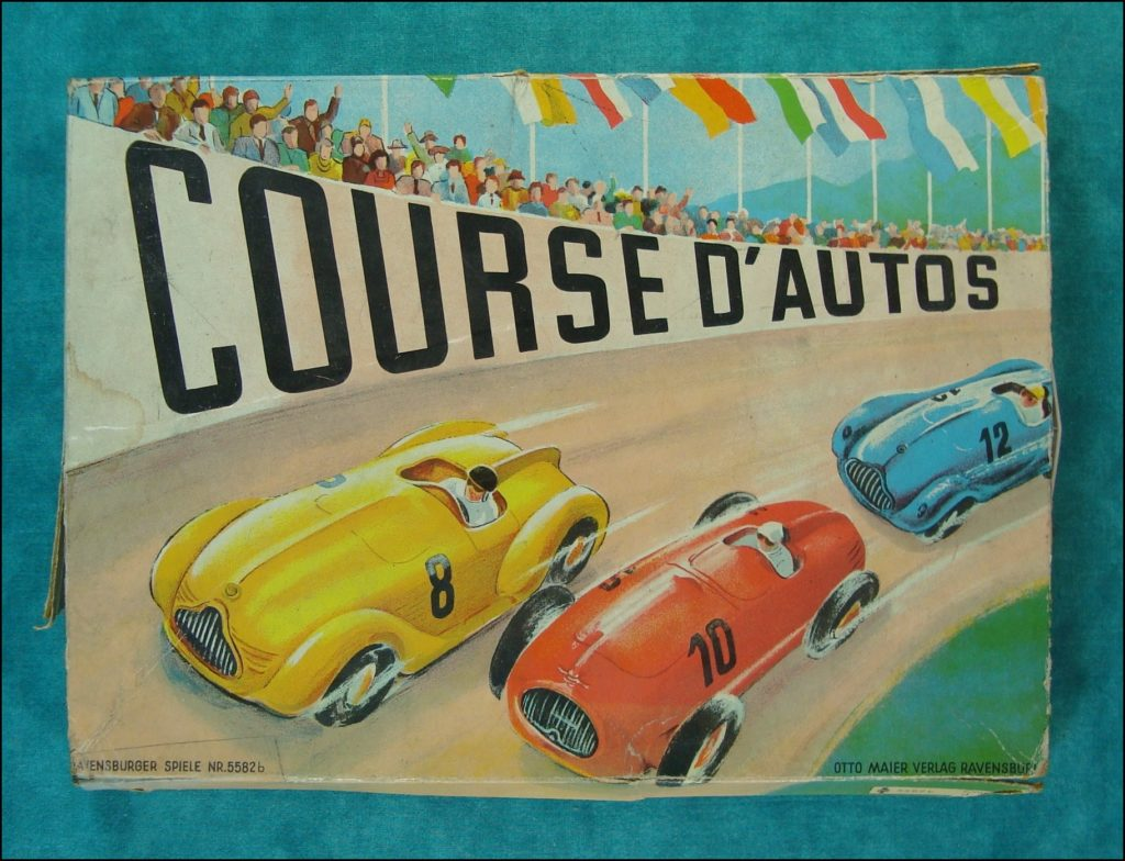 1950/55 ; Courses d'autos ; Otto Maier ; Ravensburger ; Porsche 356 ; vintage car board game ; ancien jeu de société automobile ; Antikes Brettspiel Thema Automobil ;
