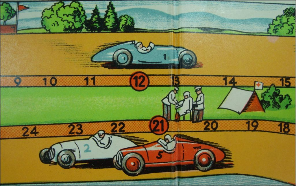 1955 ; Die Kurve  ; Abel-Klinger Spiel ; vintage car-themed board game ; ancien jeu de société automobile ; Antikes Brettspiel Thema Automobil ;