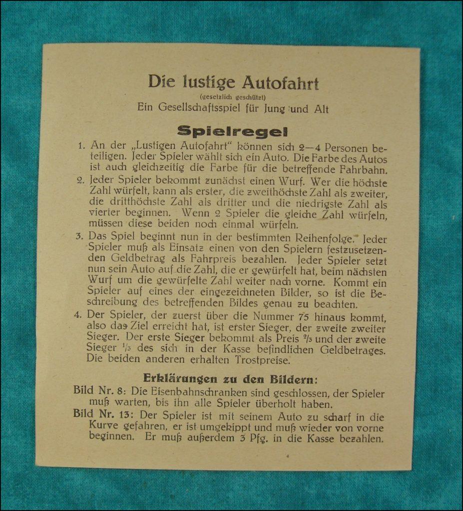 1930-40 ; Die lüstigue Autofahrt ; Löffler ; Ford V8 1934 Model 40 ; vintage car-themed board game ; ancien jeu de société automobile ; Antikes Brettspiel Thema Automobil ;