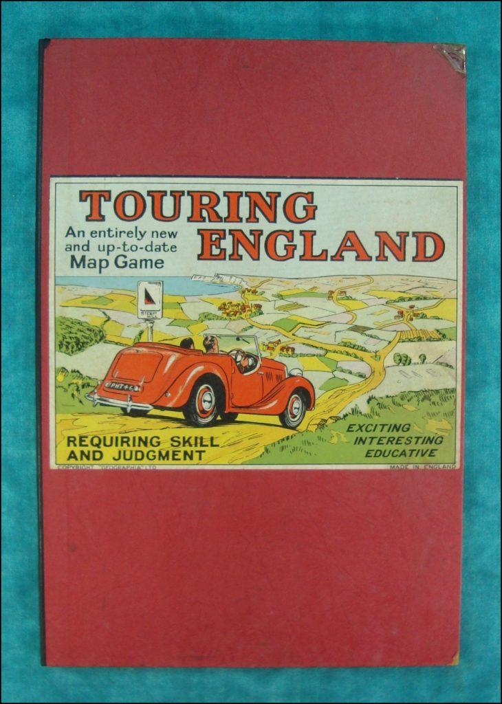 1950-55 ; Touring England ; Geographia ; Jaguar XK 120 ; vintage car board game ; ancien jeu de société automobile ; Antikes Brettspiel Thema Automobil ;