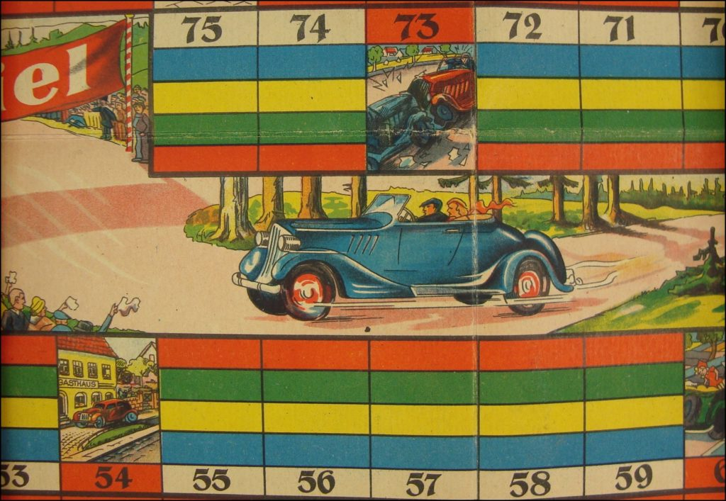 1930-40 ; Die lüstigue Autofahrt ; Löffler ; Ford V8 1934 Model 40 ; vintage car-themed board game ; ancien jeu de société automobile ; Antikes Brettspiel Thema Automobil ;