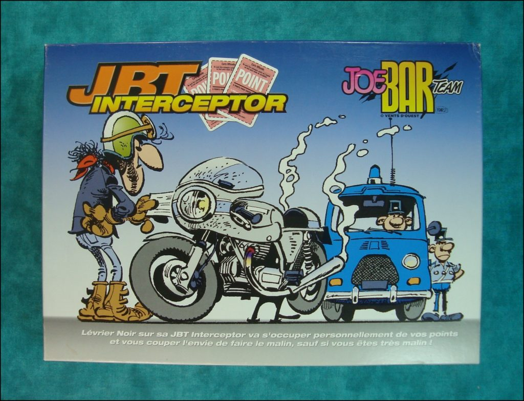 1995 - JBT Interceptor ; Vent d'Ouest ; Debarre ; Bar2 ; Jean-Raoul Ducable ; Edouard Bracame ; Jean Manchzeck ; Guido Brasletti ; Joe Bar Team ; Lucane ; vintage car-themed board game ; ancien jeu de société automobile ; Antikes Brettspiel Thema Automobil ;