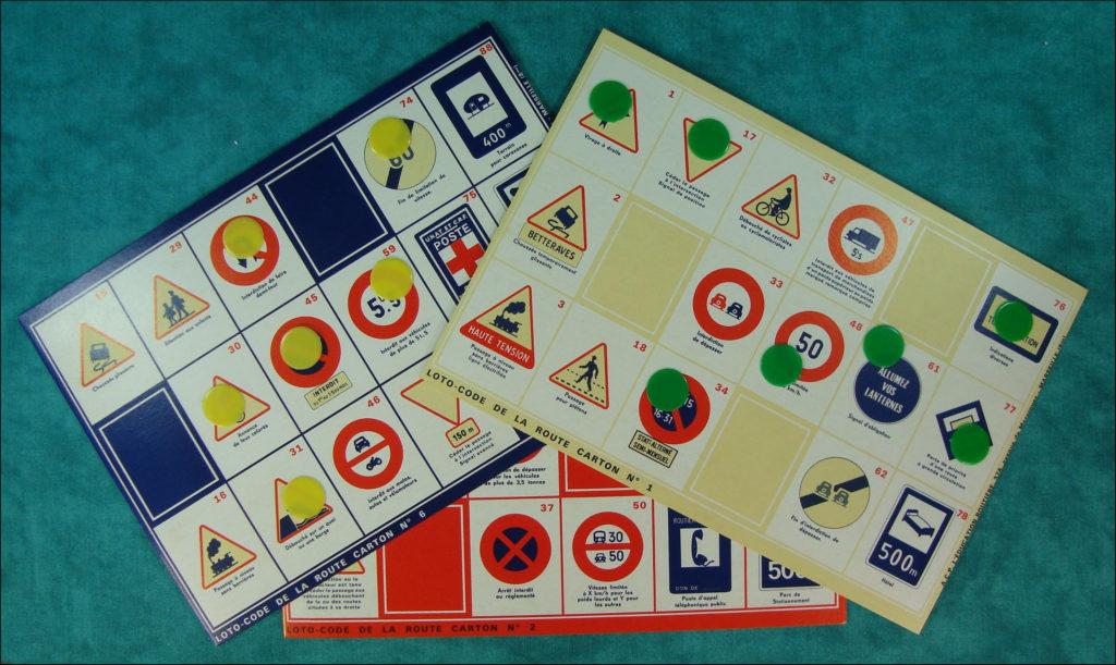 1955-60 ; Loto Code de la route ; A.C.P. ; L'Education Routière ; Ratier Cemec 750 L7 ; vintage car-themed board game ; ancien jeu de société automobile ; Antikes Brettspiel Thema Automobil ;