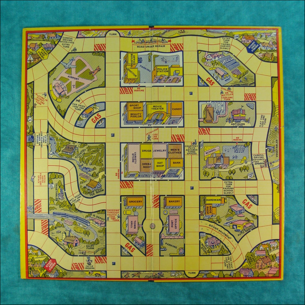 1938-45 ; Goin' to town ; All Fair ; Fairchild ; vintage car-themed board game ; ancien jeu de société automobile ; Antikes Brettspiel Thema Automobile