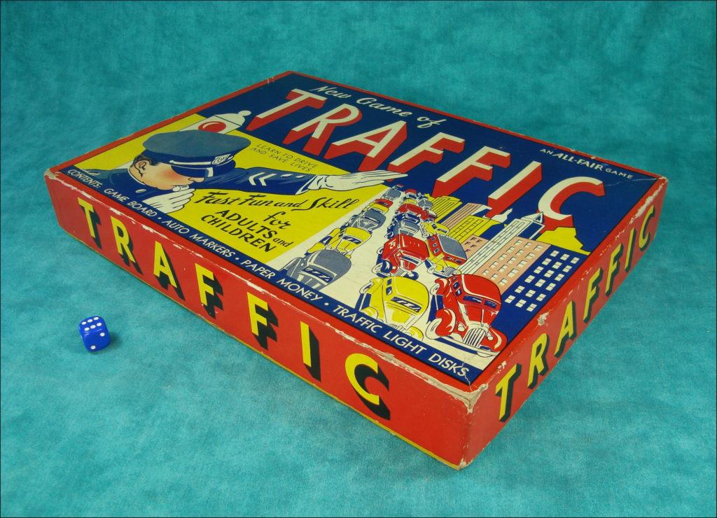 1938-45 ; New game of Traffic ;  All Fair ; Fairchild ; vintage car-themed board game ; ancien jeu de société automobile ; Antikes Brettspiel Thema Automobil ;