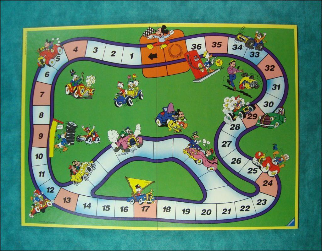 1986 ; Comic Cars Walt Disney Grand Prix ; Ravensburger ; Mickey ; Donald ; Picsou ; Pluto ; Rapetou ; Riri ; Fifi ; Loulou ; vintage car-themed board game ; ancien jeu de société automobile ; Antikes Brettspiel Thema Automobil ;