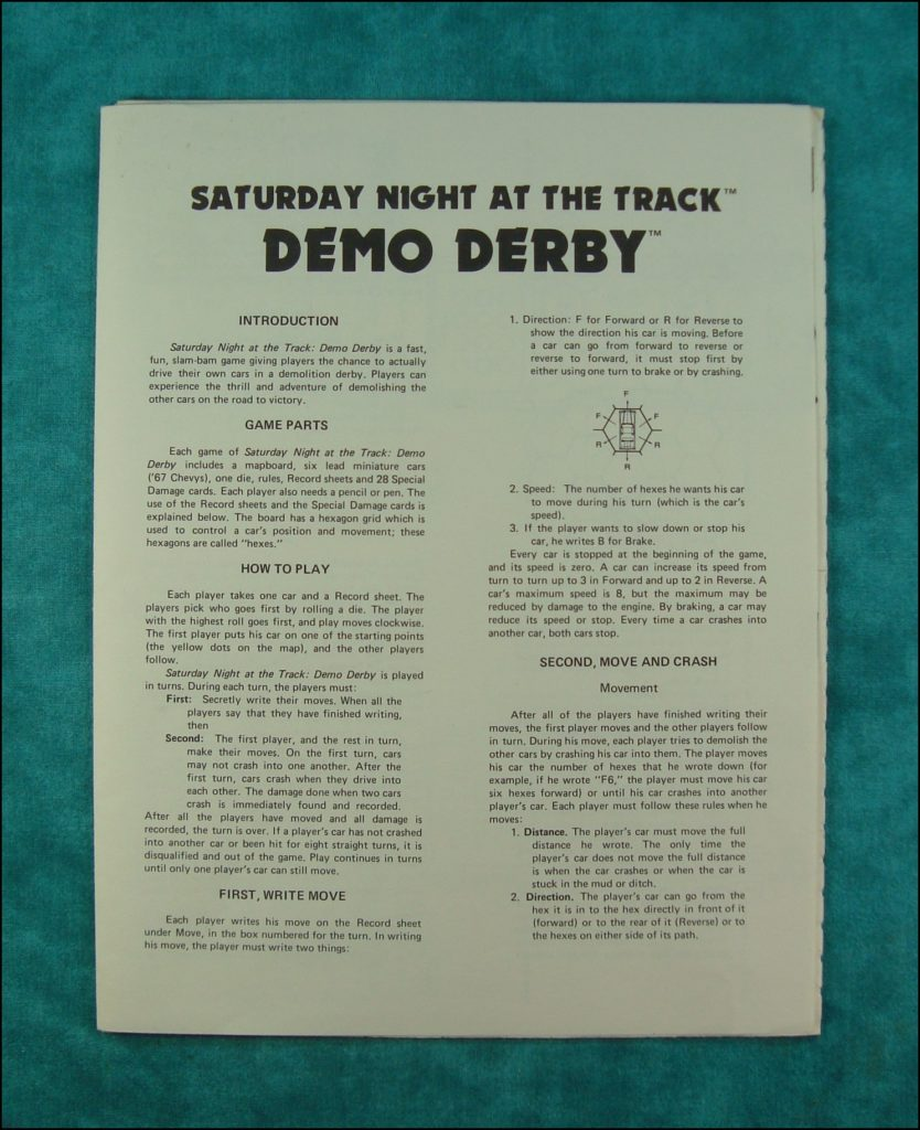 1982  ; Demo Derby ; Saturday night at the track ; Mayfair Games ; stock car ; demolition derby ; 1967 Chevrolet Impala ; vintage car-themed board game ; ancien jeu de société automobile ; Antikes Brettspiel Thema Automobil ;