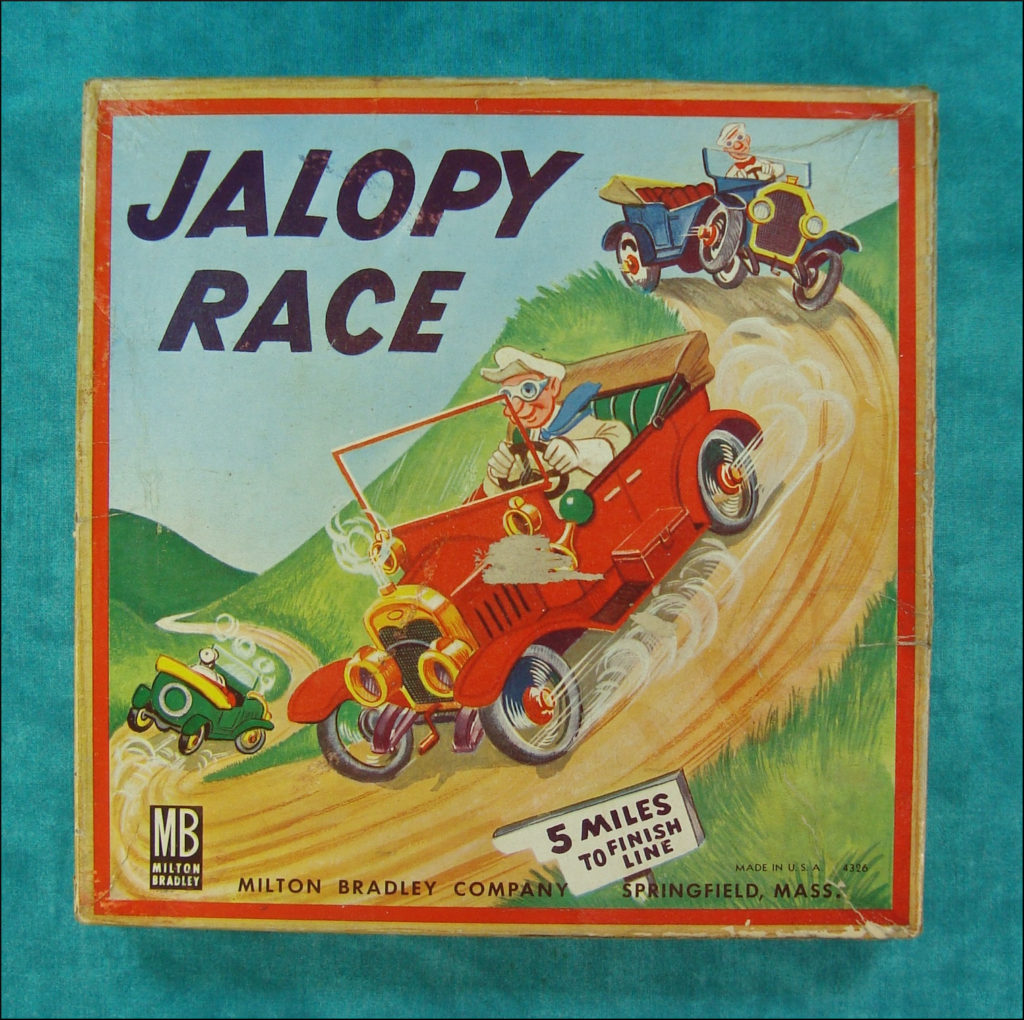 1943-64 - Jalopy Race, Milton Bradley ; MB ; vintage car-themed board game ; ancien jeu de société automobile ; Antikes Brettspiel Thema Automobil ;